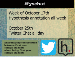 Ad for a Twitter chat for our FYS students