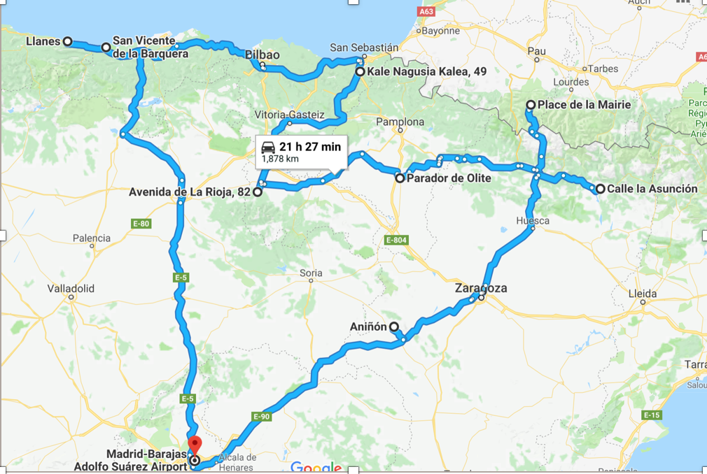 map of our route through Spain and France