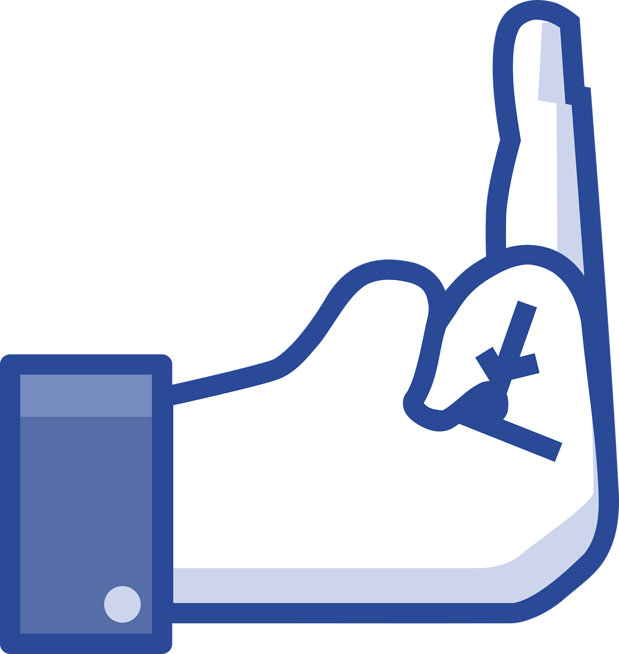 "A Facebook ""like"" hand with the middle finger raised"