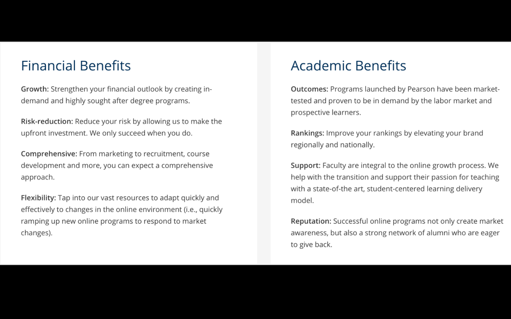 Summary of touted Financial and Academic benefits