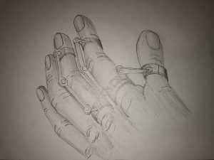 drawing of a hand with metal-looking prosthetic pieces on it